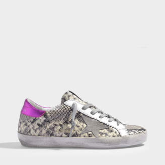 Golden Goose Superstar Sneakers In Natural Python Printed Leather And Magenta Detail