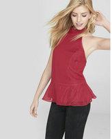 Express shimmering tie neck peplum halter blouse