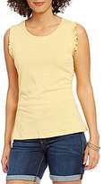 Democracy Round Neck Smocked Band Sleeve Solid Top