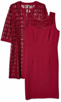 Maya Brooke Women's Windowpane Pattern Mesh Lace Jacket Knit Dress Set