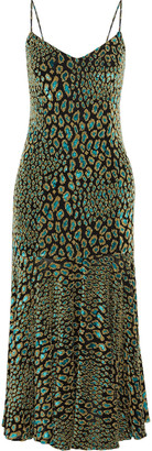 Caroline Constas Kai Metallic Leopard-print Fil Coupe Stretch-jersey Midi Dress