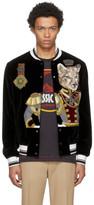 Dolce & Gabbana Black Velvet Royal Cat Bomber Jacket