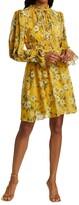 Thumbnail for your product : ML Monique Lhuillier Crinkle Chiffon Tie-Neck Dress