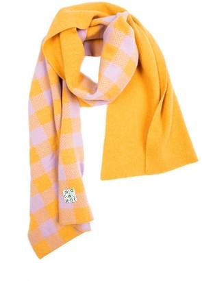Woolish Lara Checked Merino Scarf In Orange Purple