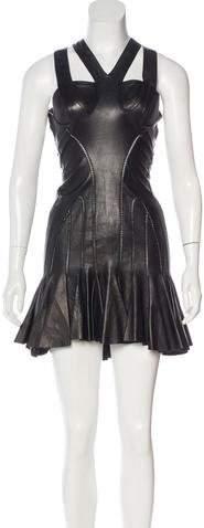 Alexander McQueen Leather Mini Dress