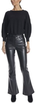 Dollhouse Juniors' Faux-Leather Flare Jeans