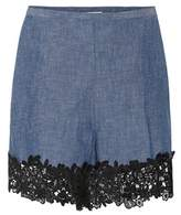 See by Chloe Lace-trimmed chambray shorts
