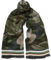 Valentino Fringed Printed Cashmere, Silk And Wool-blend Scarf