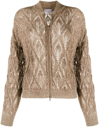 Brunello Cucinelli Zip-Through Pointelle Knit Cardigan