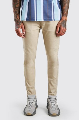 boohoo Mens Beige Super Skinny Stretch Chino Trouser, Beige