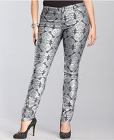INC International Concepts Plus Size Jeans, Skinny-Leg Metallic Printed