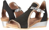 Naot Footwear Fiona (Black Velvet Nubuck/Khaki Beige Leather/Silver Mirror Leather) Women's Sandals