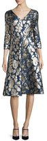 Oscar de la Renta Foil-Floral 3/4-Sleeve V-Neck Dress, Navy