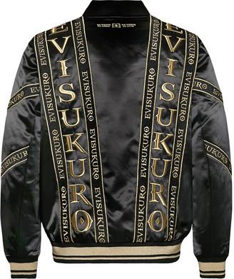 Evisu Oversized Bomber Jacket With Logo Tape Embroidery