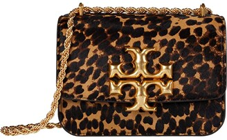 Tory Burch Eleanor Haircalf Small Convertible Shoulder Bag (Leopard Shearling) Handbags