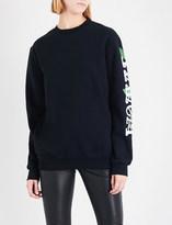 Off-White Ladies Black Round Othello Flower Cotton-Jersey Sweatshirt