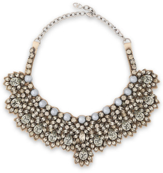 Valentino Silver-tone, Crystal, Faux Pearl And Satin Necklace
