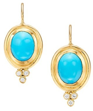 Temple St. Clair CL 18K Yellow Gold, Turquoise & Diamond Classic Earrings