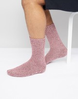 Asos Slipper Socks In Burgundy Twisted Yarn