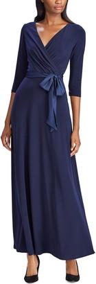 Chaps Women's Satin-Sash Surplice Evening Dress
