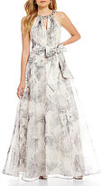 Eliza J Beaded Necklace Floral Ball Gown