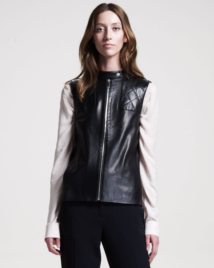 The Row Snap-Front Leather Vest