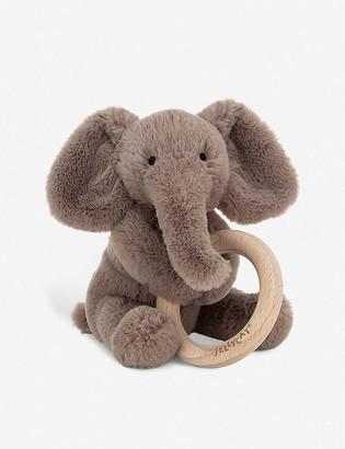 Jellycat Shooshu Elephant wooden ring soft toy 14cm
