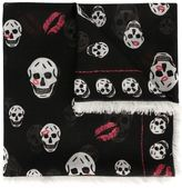 Alexander McQueen skull and lips print scarf
