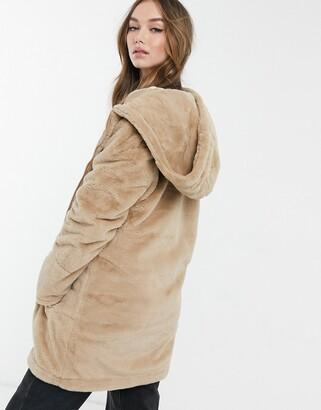 Brave Soul bernie faux food hooded coat