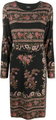 Etro Floral-Pattern Belted Dress