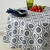 "Crate & Barrel Kiran Indigo 90"" Round Tablecloth"