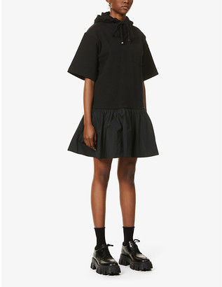 Moncler Abito hooded cotton and shell midi dress