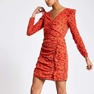 River Island Womens Orange floral print ruched mini dress