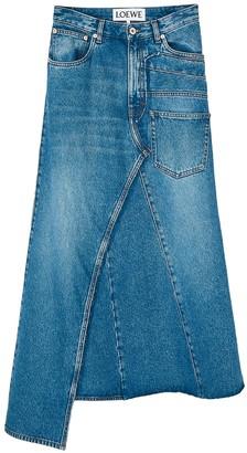 Loewe Asymmetric Midi Denim Skirt