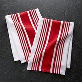 Crate & Barrel Set of 2 Cuisine Stripe Red Dish Towels