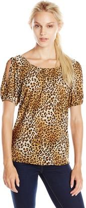 Star Vixen Women's Short Sleeve Elastic Slit Sleeve Tunic