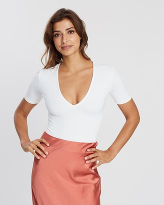 Atmos & Here Atmos&Here - Women's White Bodysuits - Marijana Bodysuit - Size 6 at The Iconic