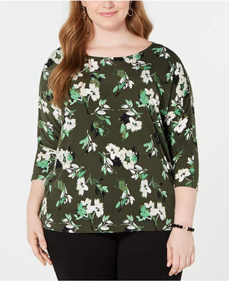 Alfani Plus Size Printed 3/4-Sleeve Top