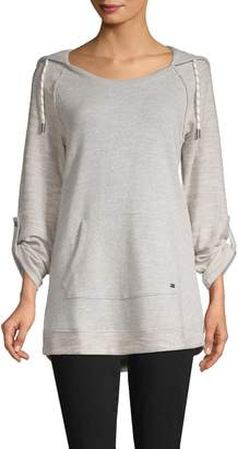 Andrew Marc Roll-Tab Sleeve Cotton-Blend Hoodie