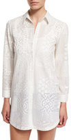 Alice + Olivia Tanisha Embroidered Button-Front Tunic, White