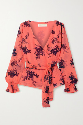 MICHAEL Michael Kors Wrap-effect Floral-print Crepe Top - Coral