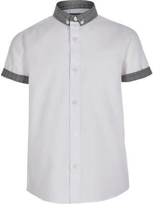 River Island Boys white check button-down collar shirt