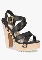 Bebe Thalia Leather & Wood Sandal