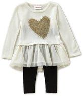 Flapdoodles Little Girls 2T-6X Heart Eyelash Intarsia/Mesh A-Line Dress & Solid Leggings Set