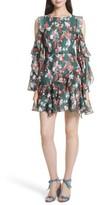 Tanya Taylor Women's Laine Floral Ikat Print Silk Cold Shoulder Dress