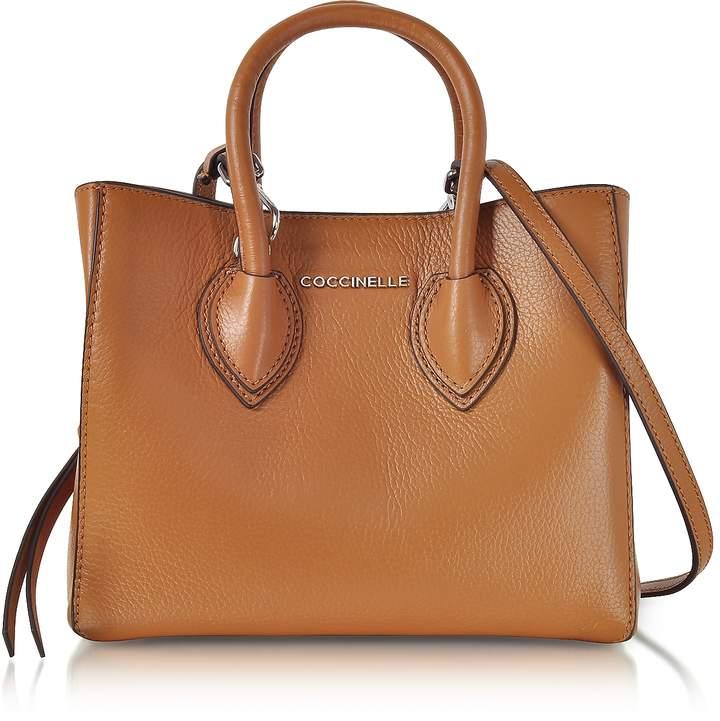 Coccinelle Farisa Brown Pebbled Leather Mini Tote Bag