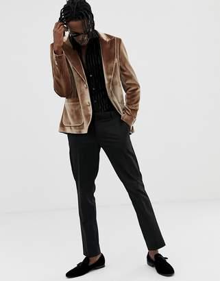 Asos Design DESIGN skinny 70s blazer in tan velvet and satin piping