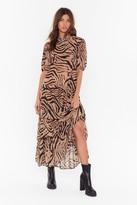 Nasty Gal Womens Haven't You Herd Zebra Maxi Dress - beige - 4, Beige