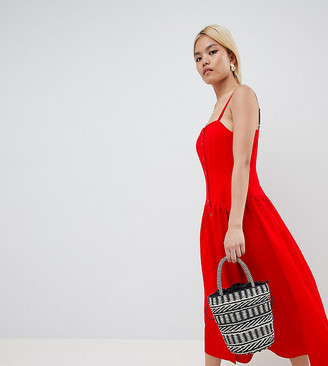 ASOS DESIGN Petite Button Through Drop Waist Maxi Dress
