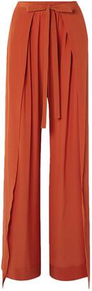 Chloé Layered Silk-crepe Wide-leg Pants